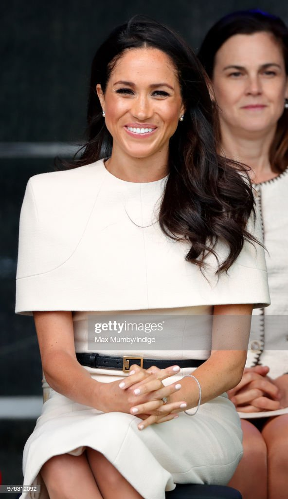 Meghan, Duchess of Sussex attends a ceremony to open the new Mersey Gateway Bridge on June 14, 2018 in Widnes, England. Meghan Markle married Prince Harry last month to become The Duchess of Sussex and this is her first engagement with the Queen. During the visit the pair will open a road bridge in Widnes and visit The Storyhouse and Town Hall in Chester.