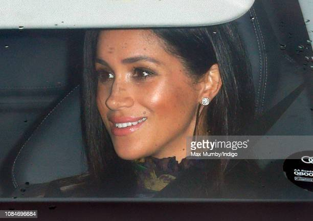 Meghan Duchess of Sussex attends a Christmas lunch for members of the Royal Family hosted by Queen Elizabeth II at Buckingham Palace on December 19...