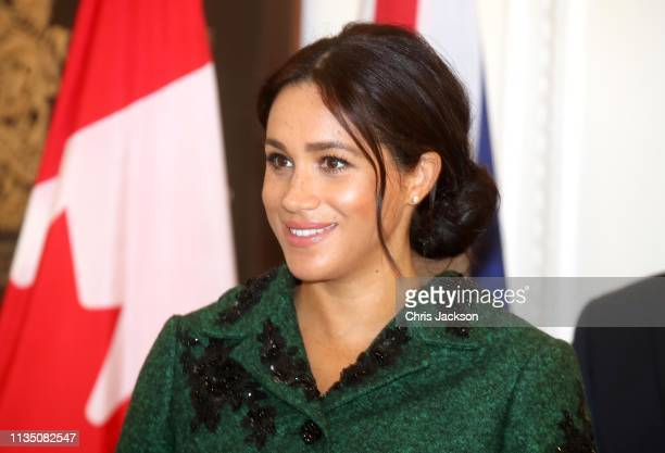 Meghan Duchess of Sussex attends a Commonwealth Day Youth Event at Canada House with Prince Harry Duke of Sussex on March 11 2019 in London England...