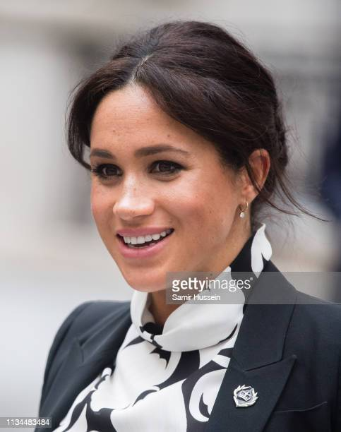 Meghan Duchess of Sussex attends a International Women's Day panel discussion at King's College London on March 08 2019 in London England