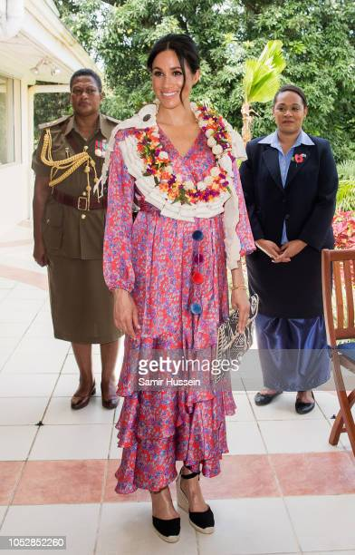 Meghan, Duchess of Sussex attends a morning tea reception at the British High Commissioner's Residence on October 24, 2018 in Suva, Fiji. The Duke...