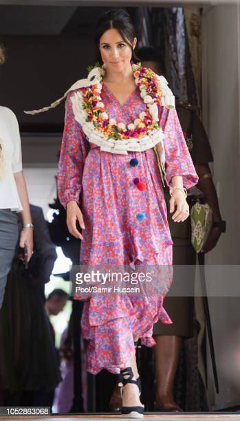 Meghan Duchess of Sussex attends a morning tea reception at the British High Commissioner's Residence on October 24 2018 in Suva Fiji The Duke and...