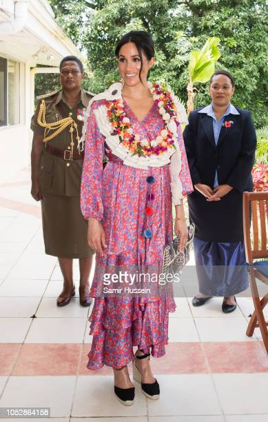 Meghan Duchess of Sussex attends a morning tea reception at the British High Commissioners Residence on October 24 2018 in Suva Fiji The Duke and...