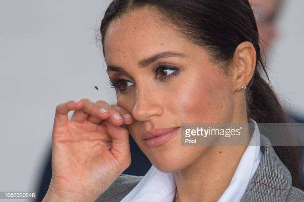 Meghan Duchess of Sussex attends a naming and unveiling ceremony for the new Royal Flying Doctor Service aircraft at Dubbo Airport on October 17 2018...