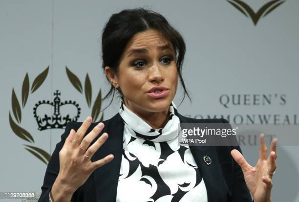 Meghan Duchess of Sussex attends a panel discussion convened by the Queen's Commonwealth Trust to mark International Women's Day on March 8 2019 in...
