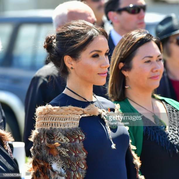 Meghan Duchess of Sussex attends a powhiri and luncheon in Their Highnesses' honour at Te Papaiouru Marae on October 31 2018 in Rotorua New Zealand...