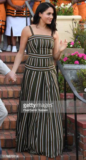 Meghan Duchess of Sussex attends a reception for young people community and civil society leaders at the Residence of the British High Commissioner...