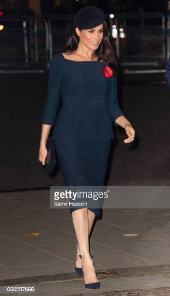 Meghan Duchess of Sussex attends a service at Westminster Abbey marking The Centenary Of WW1 Armistice at Westminster Abbey on November 11 2018 in...