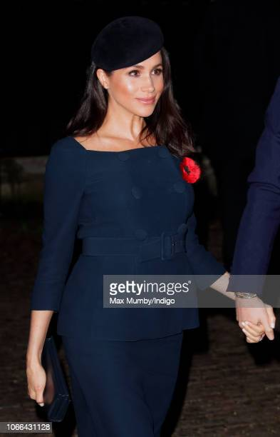 Meghan Duchess of Sussex attends a service to mark the centenary of the Armistice at Westminster Abbey on November 11 2018 in London England The...