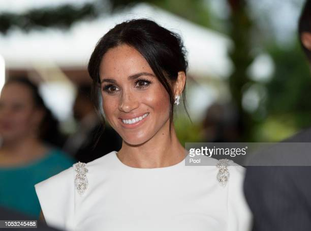 Meghan, Duchess of Sussex attends a state dinner at the Royal Residence on October 25, 2018 in Nuku'alofa, Tonga. The Duke and Duchess of Sussex are...