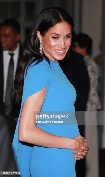 Meghan, Duchess of Sussex attends a state dinner hosted by the president of the South Pacific nation Jioji Konrote at the Grand Pacific Hotel on...