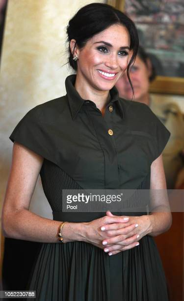 Meghan Duchess of Sussex attends an afternoon reception hosted by the GovernorGeneral and Lady Cosgrove during Day one of their tour on October 16...