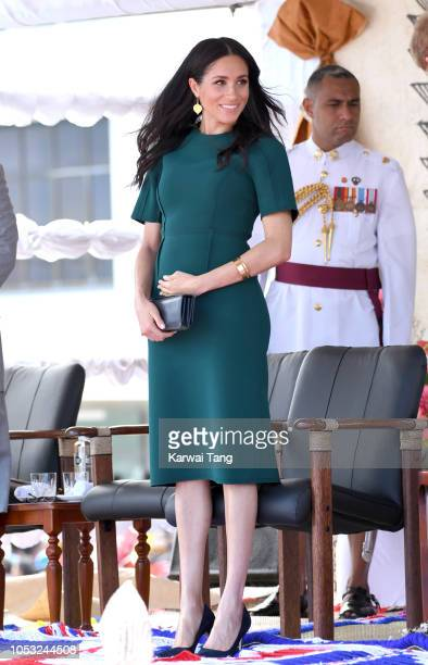 Meghan Duchess of Sussex attends an official welcome ceremony and unveil a new statue commemorating Sergeant Talaiasi Labalaba a BritishFijian...