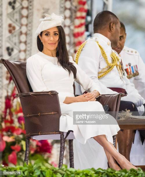 Meghan Duchess of Sussex attends an official welcome ceremony in the city centre's Albert Park on October 23 2018 in Suva Fiji The Duke and Duchess...