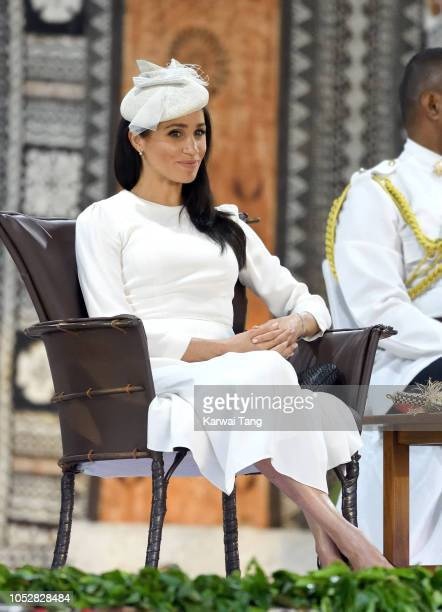 Meghan Duchess of Sussex attends an official welcome ceremony in the city centre's Albert Park on October 23 2018 in Suva Fiji The ceremony known as...