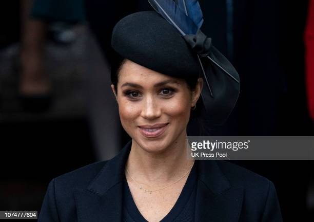 Meghan Duchess of Sussex attends Christmas Day Church service at Church of St Mary Magdalene on the Sandringham estate on December 25 2018 in King's...