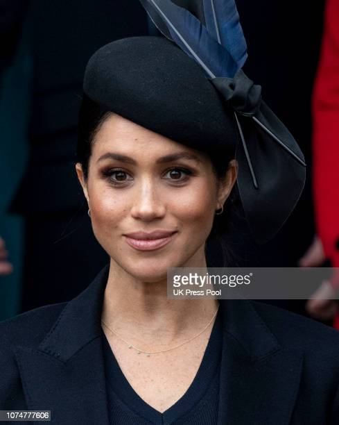 Meghan, Duchess of Sussex attends Christmas Day Church service at Church of St Mary Magdalene on the Sandringham estate on December 25, 2018 in...