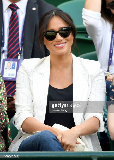 Meghan, Duchess of Sussex attends day 4 of the Wimbledon Tennis Championships at the All England Lawn Tennis and Croquet Club on July 04, 2019 in...