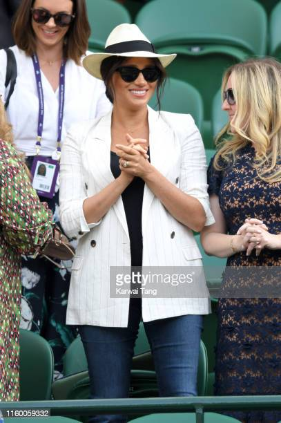 Meghan Duchess of Sussex attends day four of the Wimbledon Tennis Championships at All England Lawn Tennis and Croquet Club on July 04 2019 in London...
