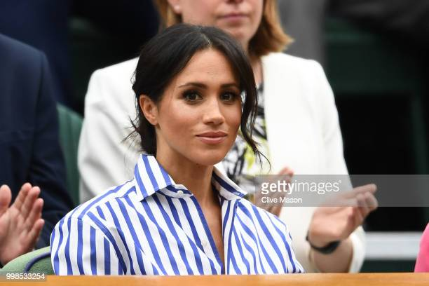 Meghan Duchess of Sussex attends day twelve of the Wimbledon Lawn Tennis Championships at All England Lawn Tennis and Croquet Club on July 14 2018 in...