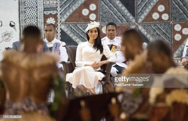 Meghan Duchess of Sussex attends official welcome ceremony in the city centre's Albert Park on October 23 2018 in Suva Fiji The Duke and Duchess of...