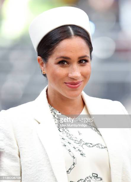 Meghan Duchess of Sussex attends the 2019 Commonwealth Day service at Westminster Abbey on March 11 2019 in London England