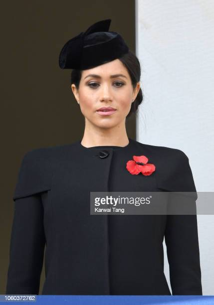 Meghan Duchess of Sussex attends the annual Remembrance Sunday memorial at The Cenotaph on November 11 2018 in London England The Armistice ending...