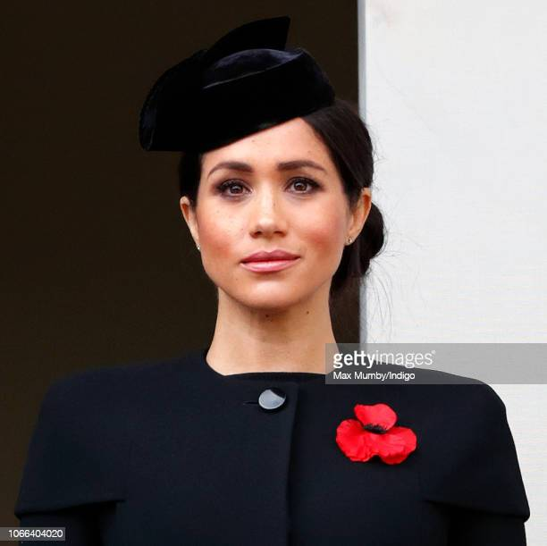 Meghan Duchess of Sussex attends the annual Remembrance Sunday Service at The Cenotaph on November 11 2018 in London England The armistice ending the...