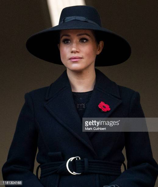 Meghan Duchess of Sussex attends the annual Remembrance Sunday memorial at The Cenotaph on November 10 2019 in London England
