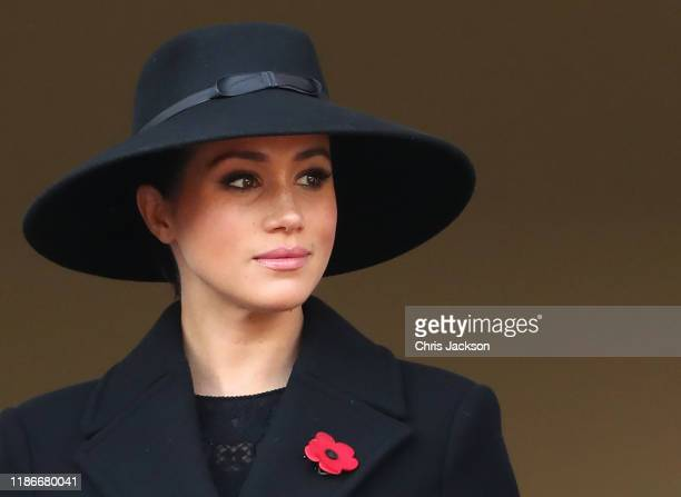 Meghan Duchess of Sussex attends the annual Remembrance Sunday memorial at The Cenotaph on November 10 2019 in London England The armistice ending...