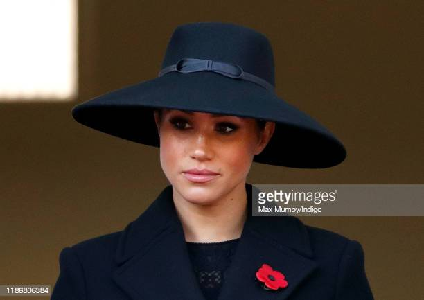 Meghan Duchess of Sussex attends the annual Remembrance Sunday service at The Cenotaph on November 10 2019 in London England The armistice ending the...