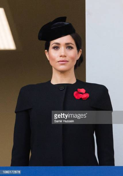 Meghan Duchess of Sussex attends the annual Remembrance Sunday memorial on November 11 2018 in London England