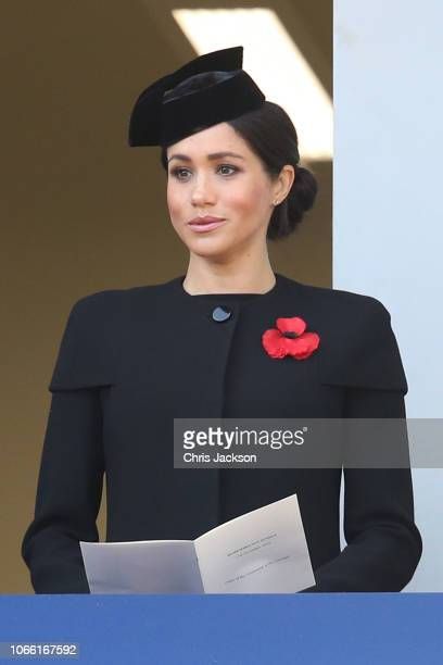 Meghan Duchess of Sussex attends the annual Remembrance Sunday memorial on November 11 2018 in London England The armistice ending the First World...