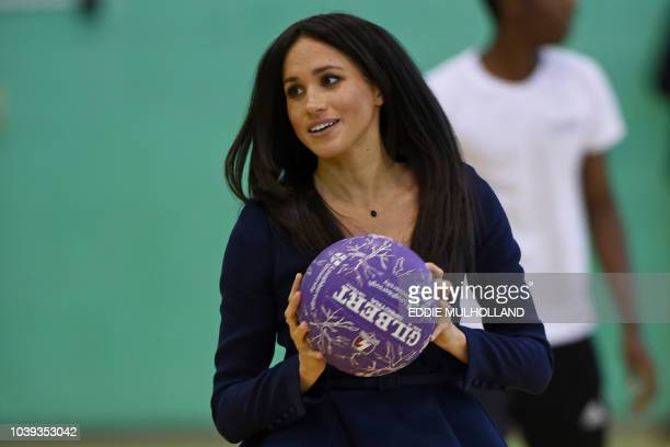 Meghan Duchess of Sussex attends the Coach Core Awards at Loughborough University in Loughborough central England on September 24 2018 Their Royal...