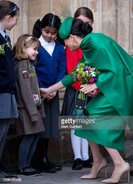 Meghan Duchess of Sussex attends the Commonwealth Day Service 2020 at Westminster Abbey on March 9 2020 in London England