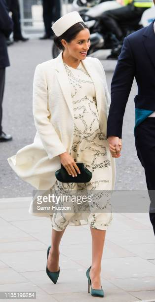 Meghan Duchess of Sussex attends the Commonwealth Day service at Westminster Abbey on March 11 2019 in London England