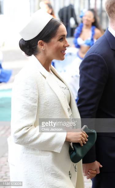 Meghan Duchess of Sussex attends the Commonwealth Service with Prince Harry Duke of Sussex on Commonwealth Day at Westminster Abbey on March 11 2019...