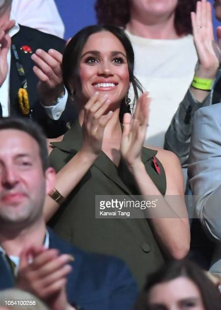 Meghan Duchess of Sussex attends the Invictus Games Closing Ceremony at Qudos Bank Arena on October 27 2018 in Sydney Australia The Duke and Duchess...