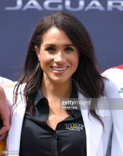 Meghan Duchess of Sussex attends the Invictus Games Sydney 2018 Jaguar Land Rover Driving Challenge on Cockatoo Island on October 20 2018 in Sydney...