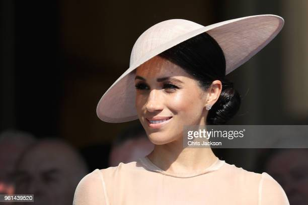 Meghan, Duchess of Sussex attends The Prince of Wales' 70th Birthday Patronage Celebration held at Buckingham Palace on May 22, 2018 in London,...