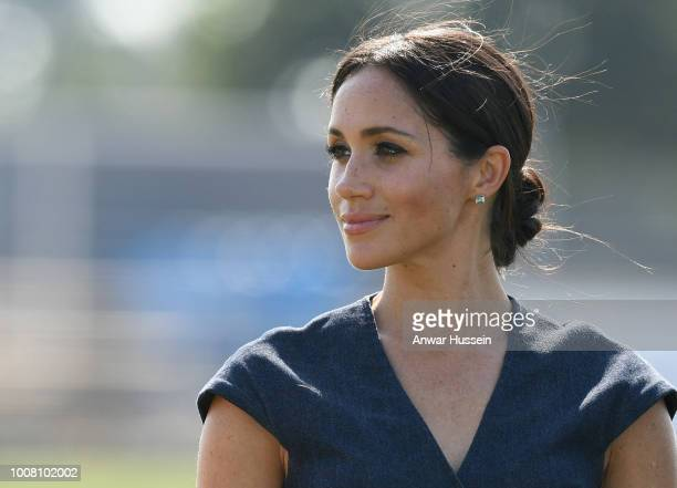 Meghan, Duchess of Sussex attends the Sentebale ISPS Handa Polo Cup at the Royal County of Berkshire Polo Club on July 26, 2018 in Windsor, England.