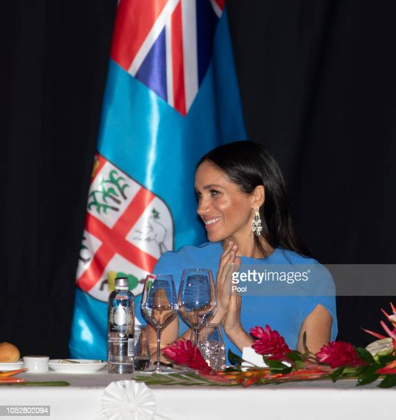 Meghan Duchess of Sussex attends the State dinner on October 23 2018 in Suva Fiji The Duke and Duchess of Sussex are on their official 16day Autumn...