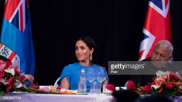 Meghan, Duchess of Sussex attends the State dinner on October 23, 2018 in Suva, Fiji. The Duke and Duchess of Sussex are on their official 16-day...