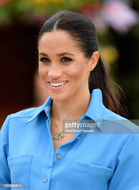 Meghan, Duchess of Sussex attends the unveiling of The Queen's Commonwealth Canopy at Tupou College on October 26, 2018 in Nuku'alofa, Tonga. The...