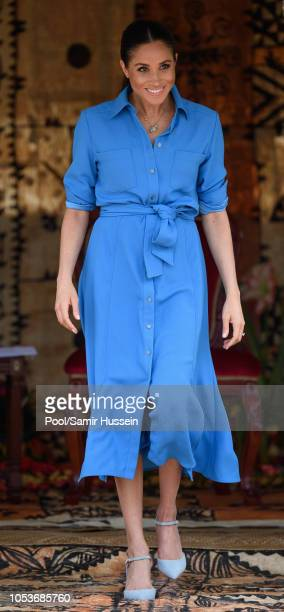 Meghan Duchess of Sussex attends the unveiling of The Queen's Commonwealth Canopy at Tupou College on October 26 2018 in Nuku'alofa Tonga The Duke...