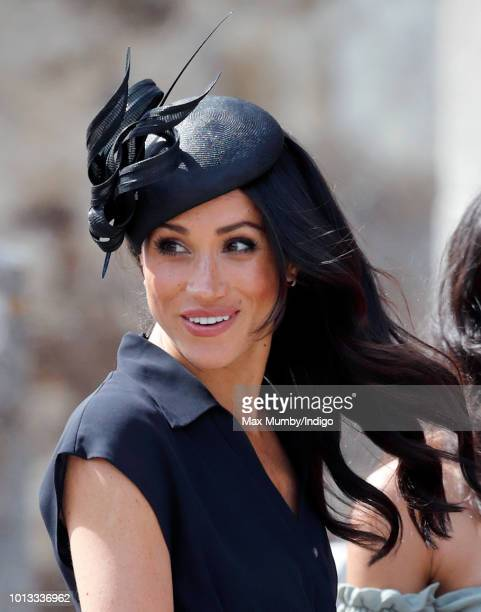 Meghan, Duchess of Sussex attends the wedding of Charlie van Straubenzee and Daisy Jenks at the church of St Mary the Virgin on August 4, 2018 in...