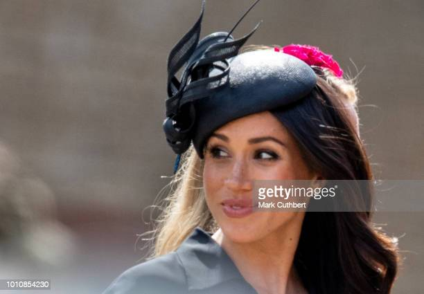 Meghan Duchess of Sussex attends the wedding of Charlie Van Straubenzee and Daisy Jenks on August 4 2018 in Frensham United Kingdom Prince Harry...