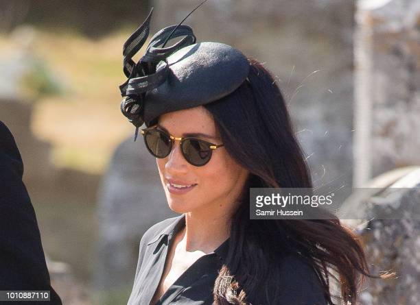 Meghan Duchess of Sussex attends the wedding of Charlie Van Straubenzee on August 4 2018 in Frensham United Kingdom Prince Harry attended the same...