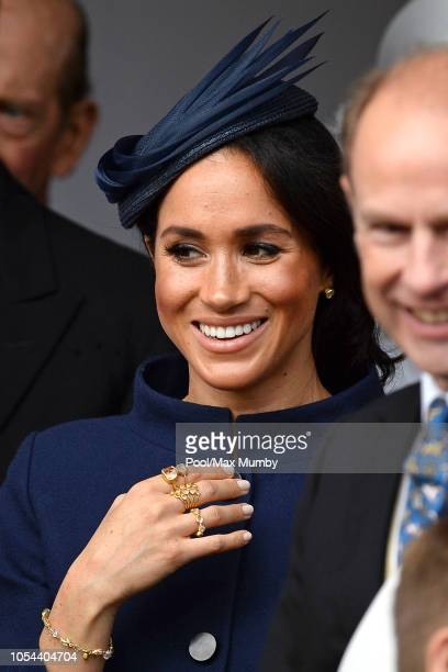 Meghan Duchess of Sussex attends the wedding of Princess Eugenie of York and Jack Brooksbank at St George's Chapel on October 12 2018 in Windsor...