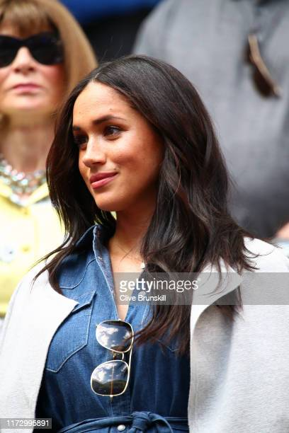 Meghan Duchess of Sussex attends the Women's Singles final match between Serena Williams of the United States and Bianca Andreescu of Canada on day...